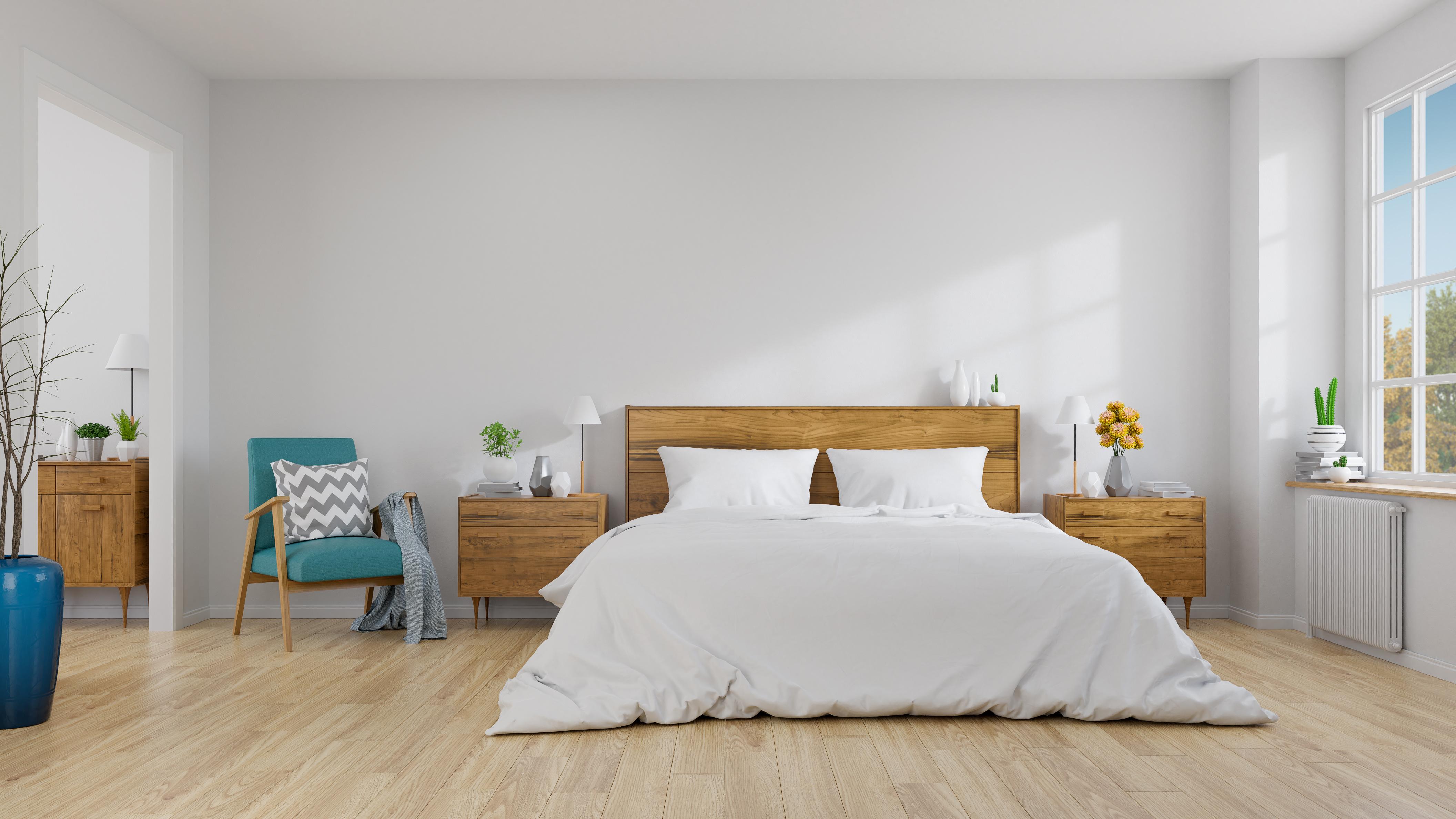 Modern otthon tömörfa bútorokkal