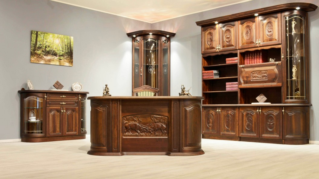 Diófa szekrénysor íróasztallal